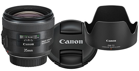 Canon EF 35 mm 1:2 IS USM, kryt E-67 II a sluneční clona EW-72