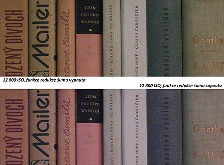 redukce šumu - hřbety knih